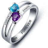 2 Stone Reaching Hearts Mothers or Couples Ring