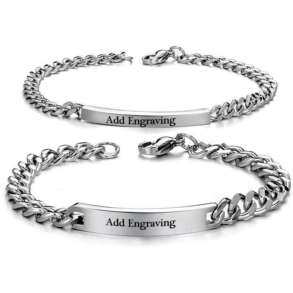 Personalized Pair Engraved His & Hers Stainless Steel Bracelets - Think Engraved