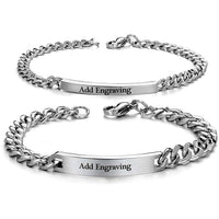 Personalized Pair Engraved His & Hers Stainless Steel Bracelets