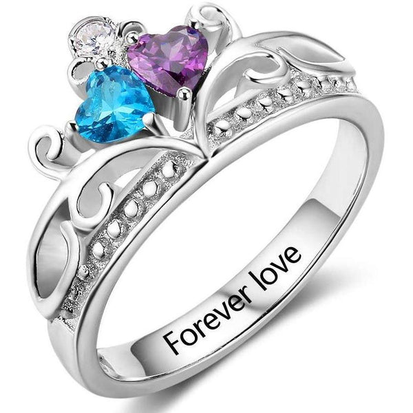2 Heart Stone Princess Mothers Ring or Promise Ring - Think Engraved
