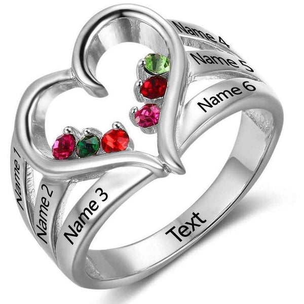 Personalized 6 Birthstone & 6 Engraved Names Mother's - Family Ring