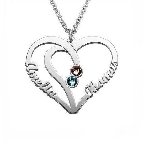 2 Stone Combined Hearts Personalized Name Necklace - Think Engraved