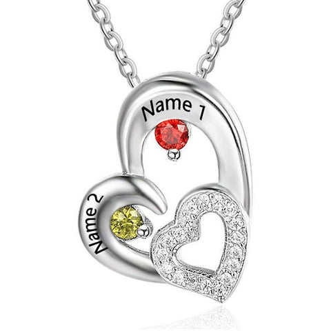 2 Stone Falling Hearts Personlized Birthstone Necklace - Think Engraved