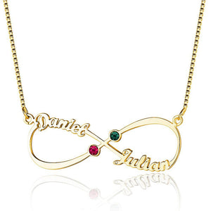 2 Stone Infinite Love Name Gold Plate Necklace - Think Engraved