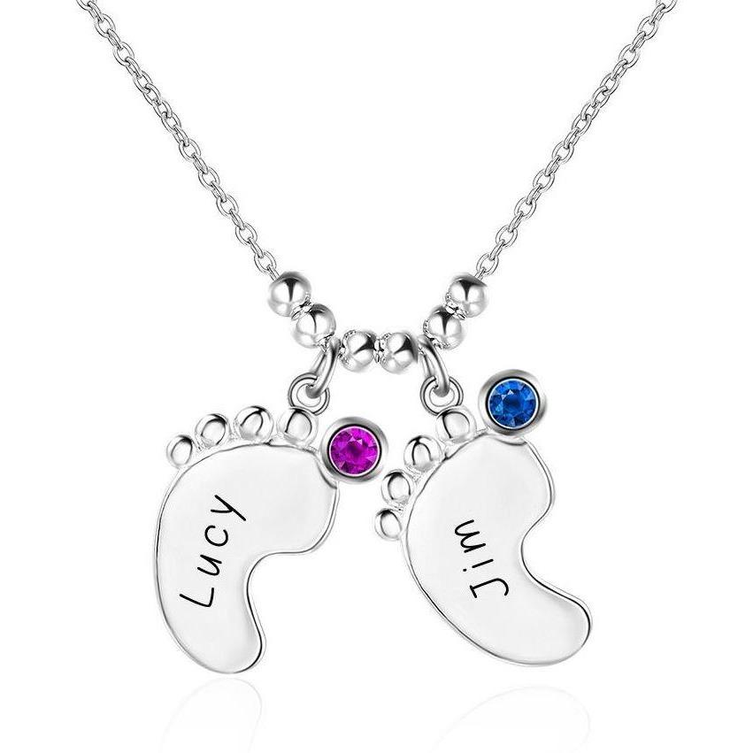 2 Stone Little Feet Charm Mother's Family Necklace - Think Engraved