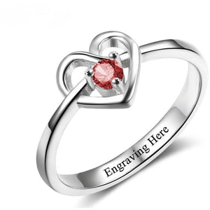 1 Stone Promised Heart Ring With Custom Birthstone - Think Engraved