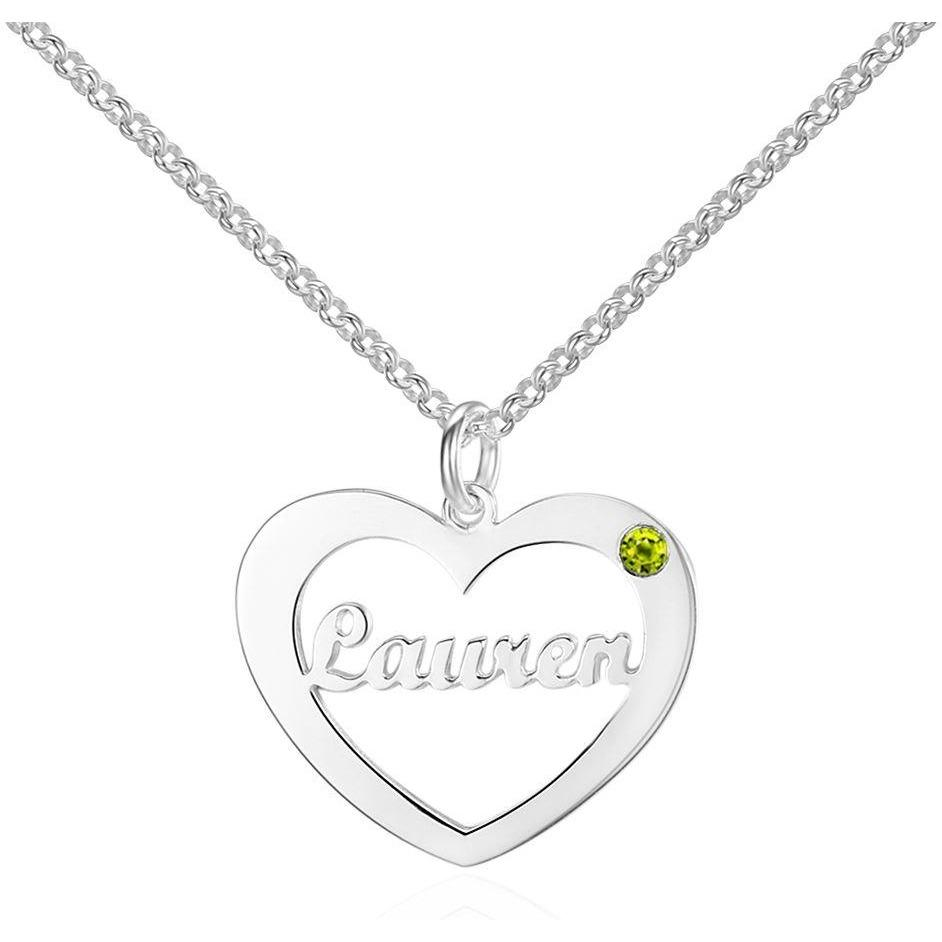 Personalized 2 Birthstone & 1 Cutout Name Necklace - Think Engraved