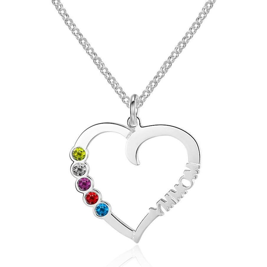 5 Stone Mommy Heart Birthstone Mothers Necklace - Think Engraved