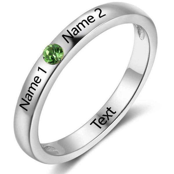 Personalized 1 Birthstone & 2 Engraved Names Ring