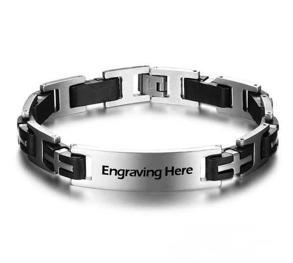 Rugged Cross Link Engraved Bar Bracelet - Think Engraved