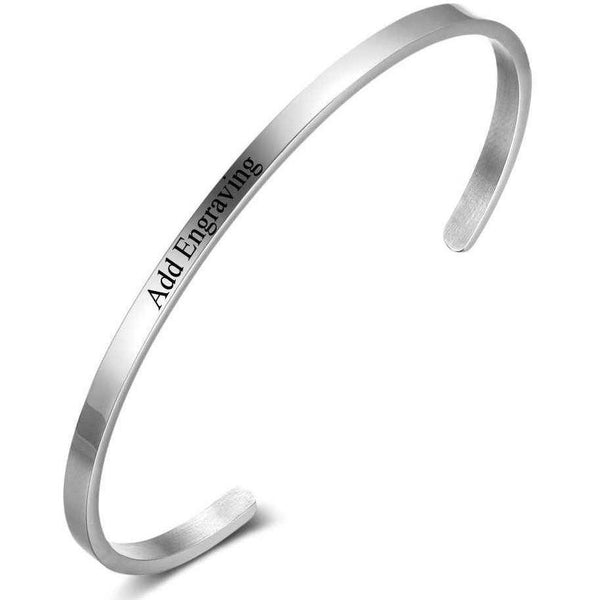 Stainless Engraved Name Cuff Bracelet