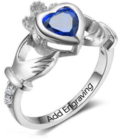 Personalized 1 Birthstone Irish Claddaugh Love & Loyalty Ring