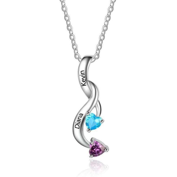 2 Stone Shooting Hearts Mothers or Couples Necklace - Think Engraved