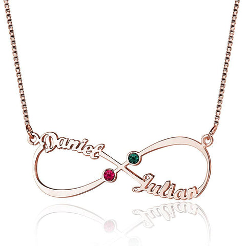 2 Stone Infinite Love Name Rose Gold Plate Necklace - Think Engraved