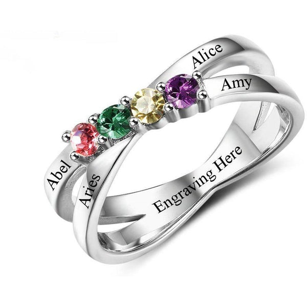 4 Stone Lined Hearts Split Band Mother's Ring - Think Engraved