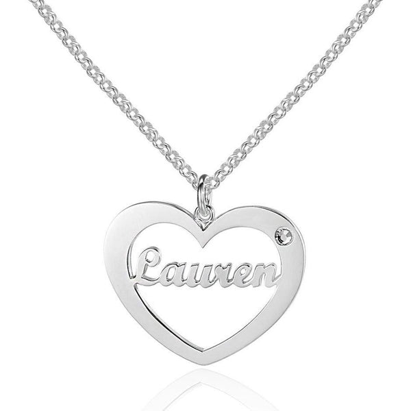 In My Heart Sterling Silver Pendant Necklace - Think Engraved