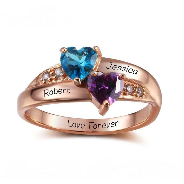 2 Stone Two Hearts 14k Rose Gold IP Ring - Think Engraved
