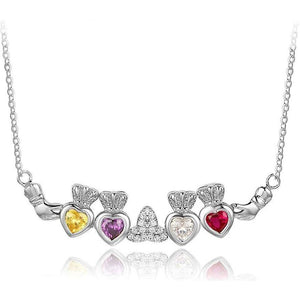 4 Stone Irish Claddaugh Loyalty Mothers Necklace - Think Engraved
