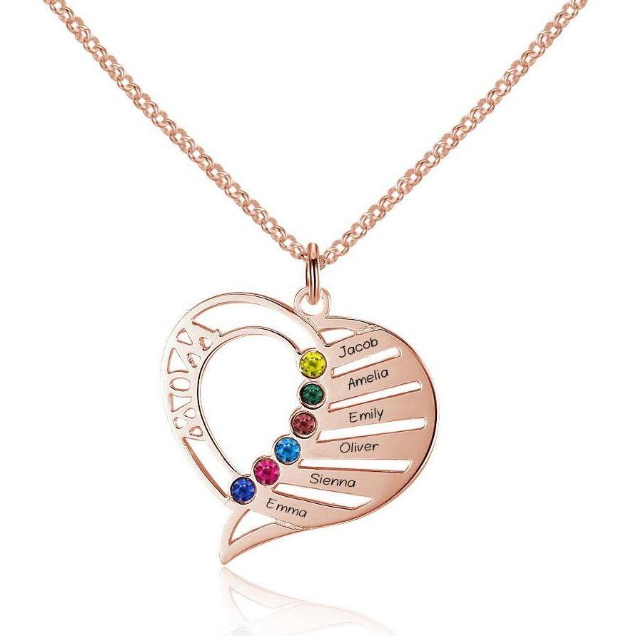 6 Stone Mom's Heart Rose Gold Mothers Necklace - Think Engraved