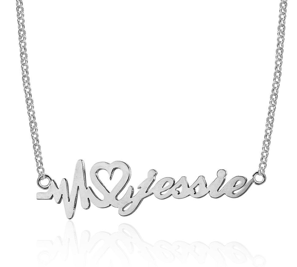 Heartbeat Name Necklace Sterling Silver - Think Engraved