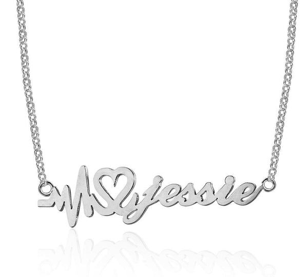 Heartbeat Name Necklace Sterling Silver