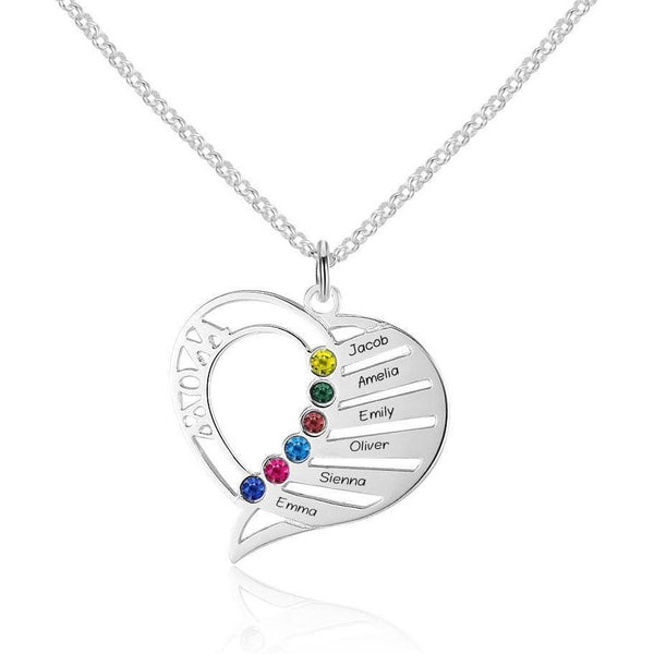 6 Stone Mom's Heart Pendant Mother's Necklace