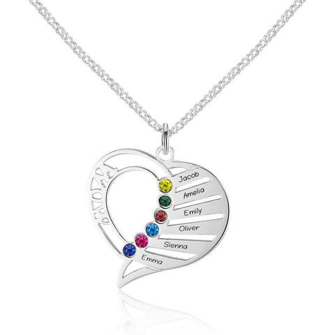 6 Stone Mom's Heart Pendant Mother's Necklace - Think Engraved