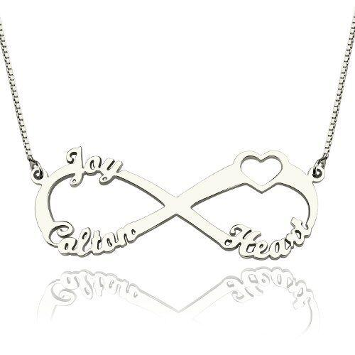 Infinity Heart Name Necklace 3 Names - Think Engraved