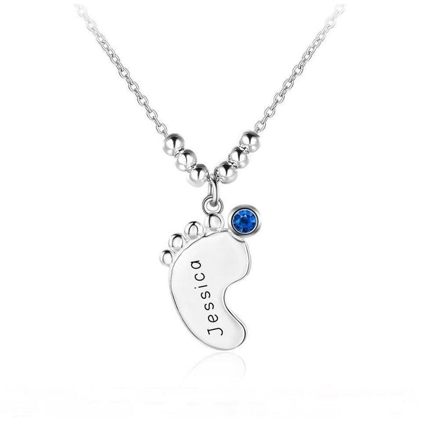 1 Stone Engraved Name Baby Foot Pendant Necklace - Think Engraved