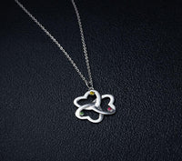 Mothers Mom Birthstone Necklace 3 Stone Clover Heart