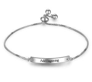 Adjustable Engraved Bar Engraved Name Bracelet - Think Engraved