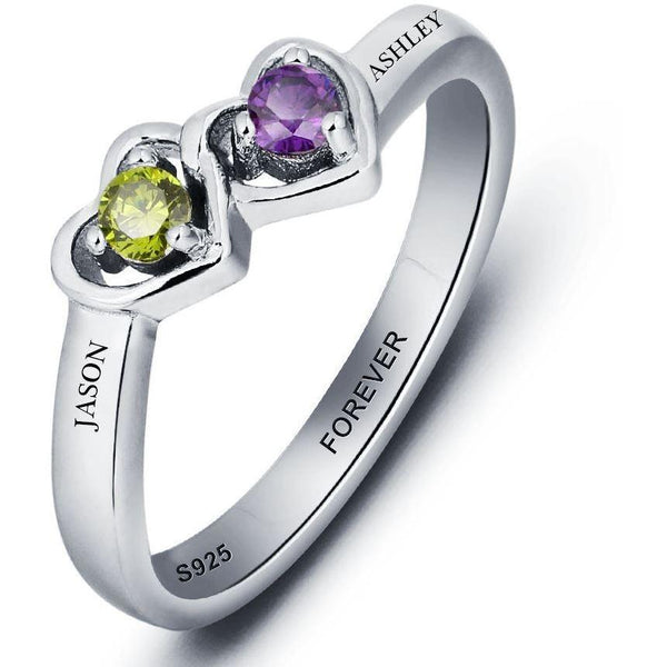 2 Stone Enclosed Hearts Mothers Ring or Promise Ring