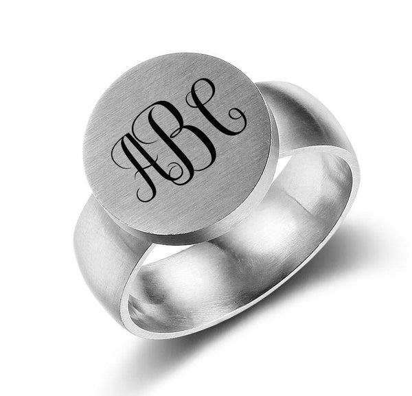 Personalized 3 Initial Engraved Monogram Ring