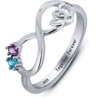 2 Stone Infinity Hearts Mothers or Couples Ring - Think Engraved