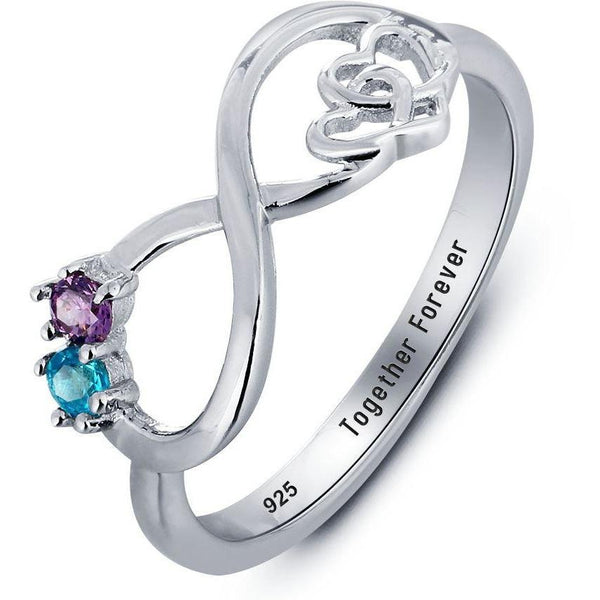 2 Stone Infinity Hearts Mothers or Couples Ring