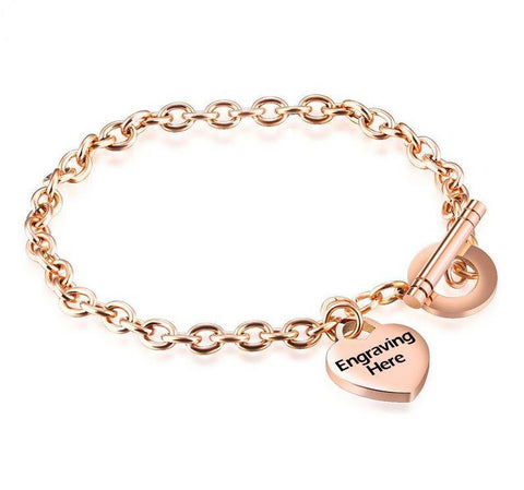 Rose Gold Tone Engraved Heart Charm Bracelet - Think Engraved