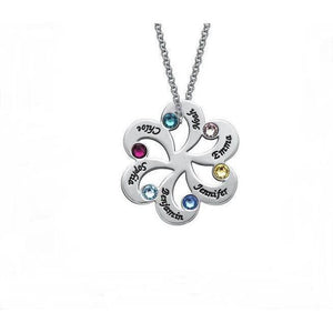 6 Stone Family Flower Pendant Mother's Necklace - Think Engraved