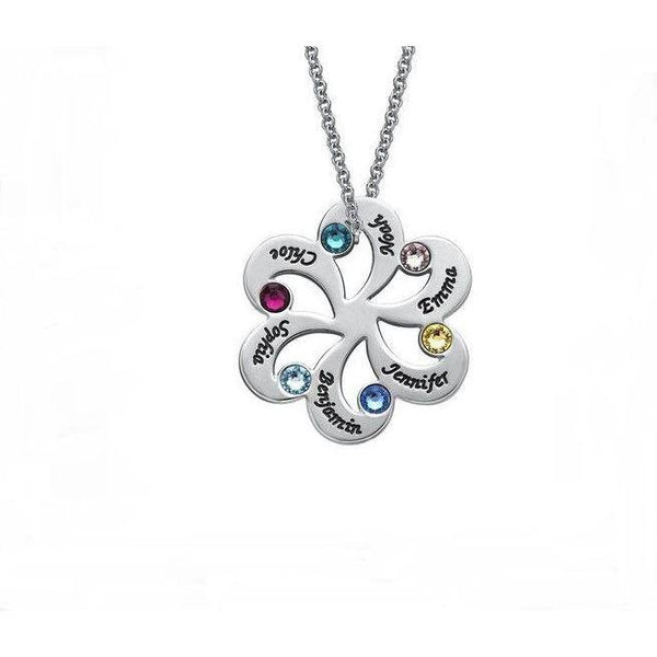 6 Stone Family Flower Pendant Mother's Necklace