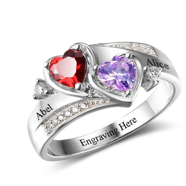 2 Stone Beautiful Hearts Mothers Ring or promise Ring - Think Engraved