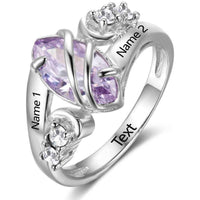 1 Stone Wrapped In Love Mothers or Promise Ring - Think Engraved