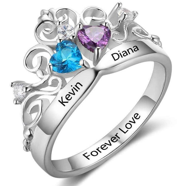 Personalized 2 Engraved Names & 2 Birthstones Queen - Princess Ring