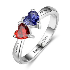 2 Stone Two Loves Personalized Mothers or Couples Ring - Think Engraved