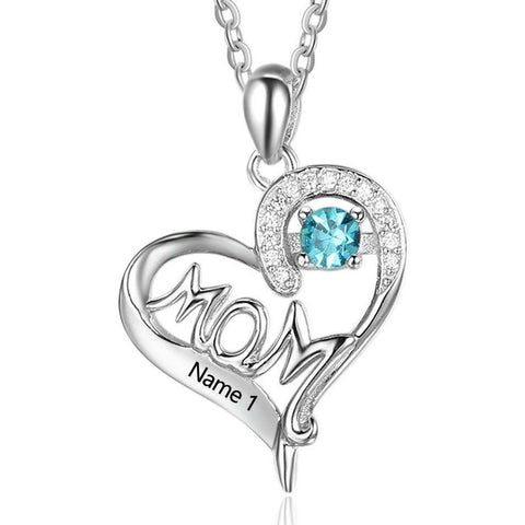 1 Stone In Mom's Heart Mothers Pendant Necklace - Think Engraved