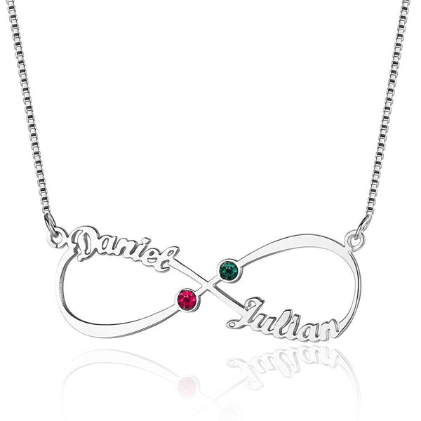 2 Stone Infinite Love Name Necklace