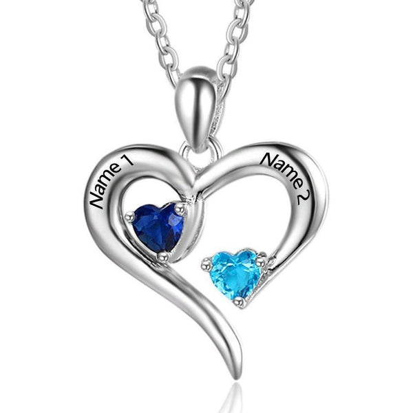 2 Stone My open Heart Mothers or Couples Necklace