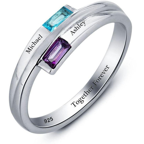 2 Stone Baguette Engraved Mothers or Promise Ring - Think Engraved