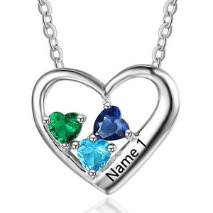 3 Stone True Heart Personalized Mothers Mom Necklace - Think Engraved