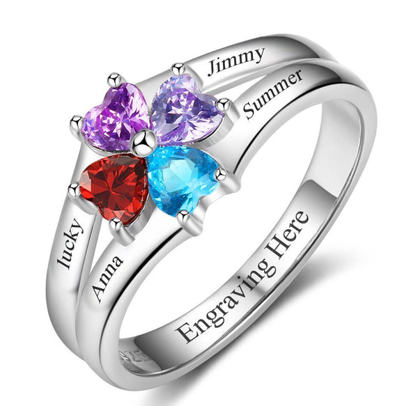 4 Stone Circled Hearts Mother's Family Ring - Think Engraved