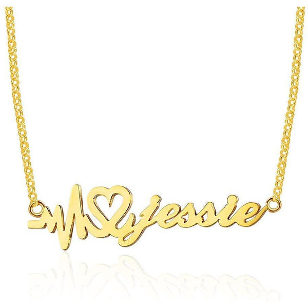 Heartbeat Name Necklace 14k Gold Plate - Think Engraved