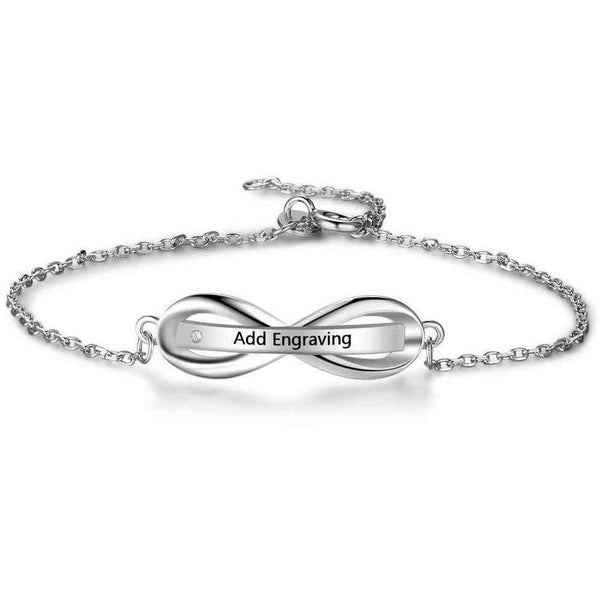 Infinity Engraved Name Bar Bracelet